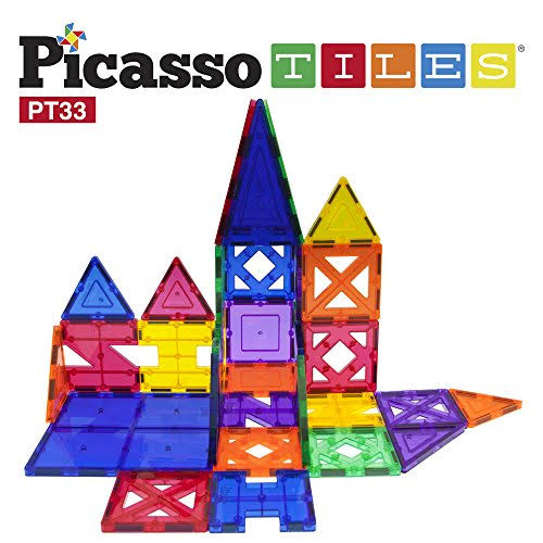 PicassoTiles Magnetic Building Blocks - Clear, 33pc