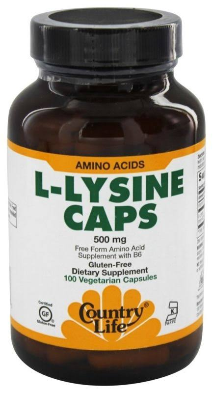 Country Life L-Lysine Caps 500mg Vegetarian Capsules - x100