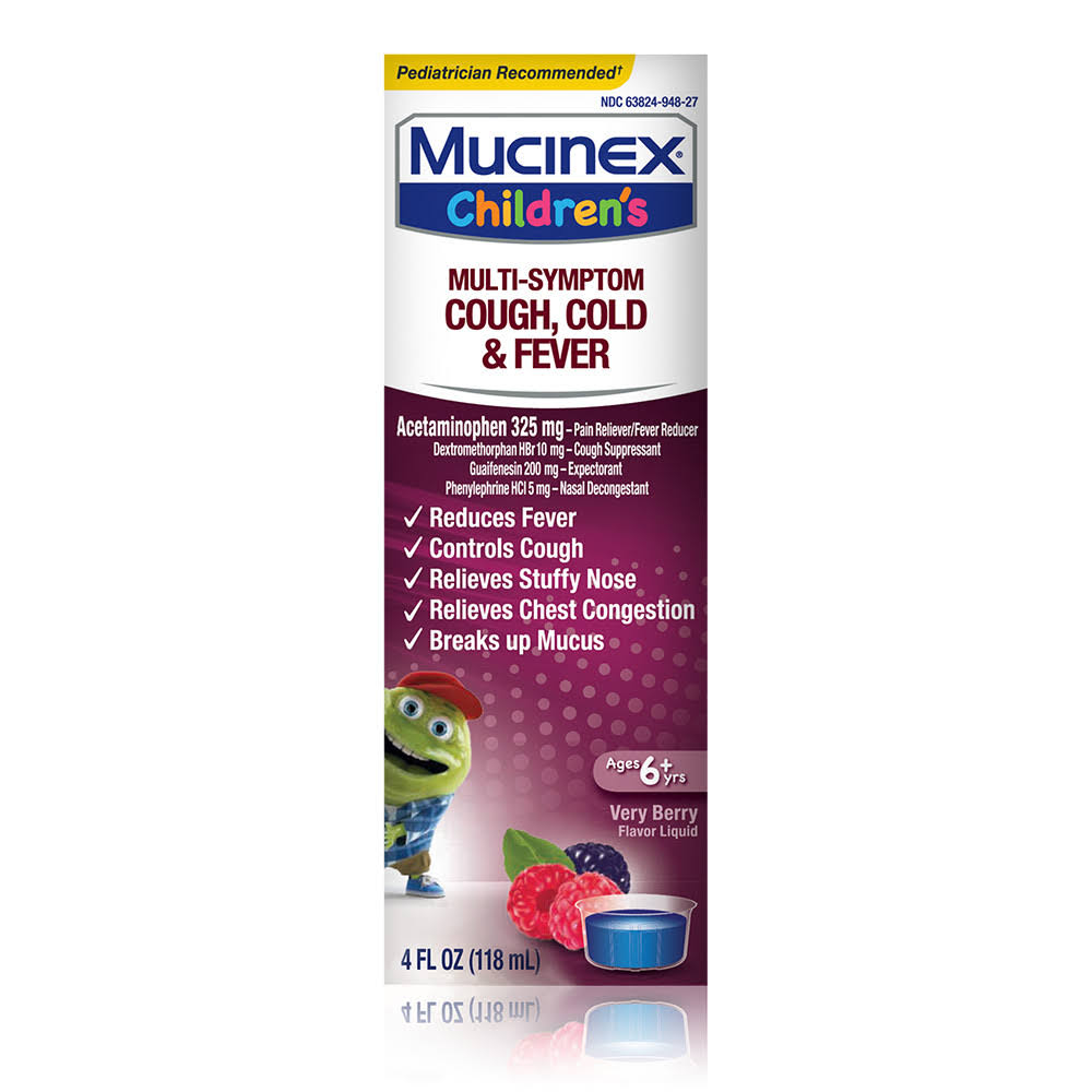 Mucinex Multi-Symptom Children's Liquid Cold & Fever Liquid - Berry Blast, 118ml