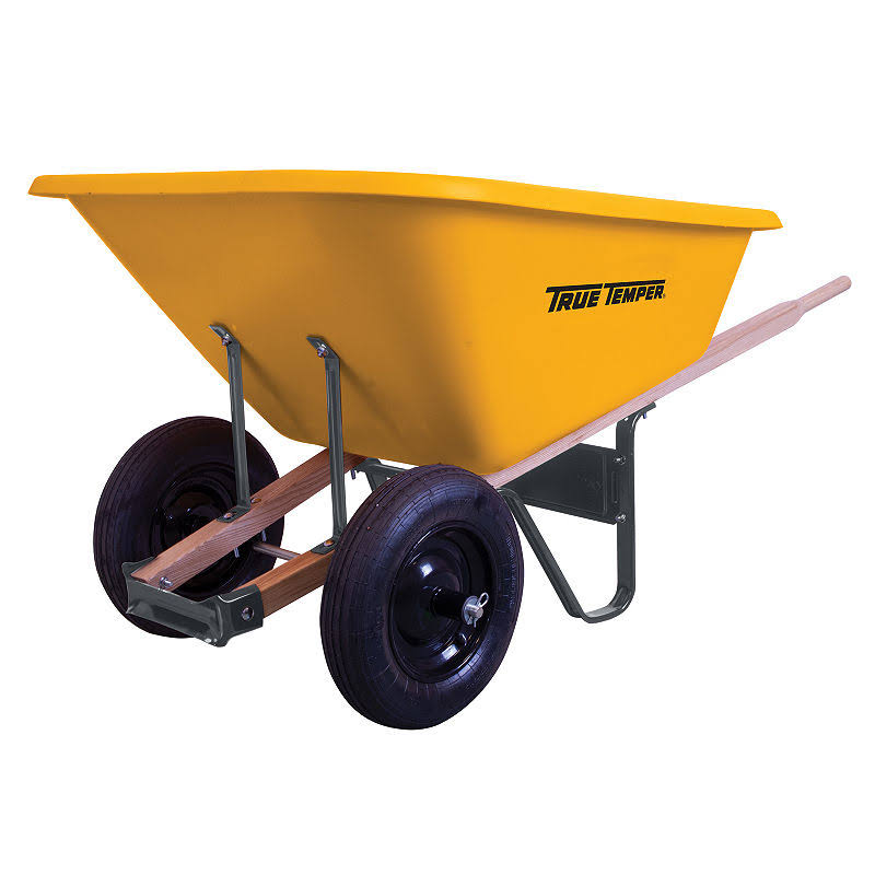 Ames True Temper Dual Wheel Poly Wheelbarrow - 8 Cu'
