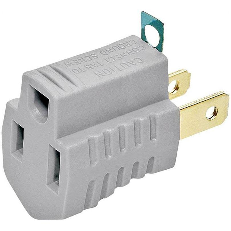 Cooper Wiring 2 Wire Grounding Adapter Outlet - Gray