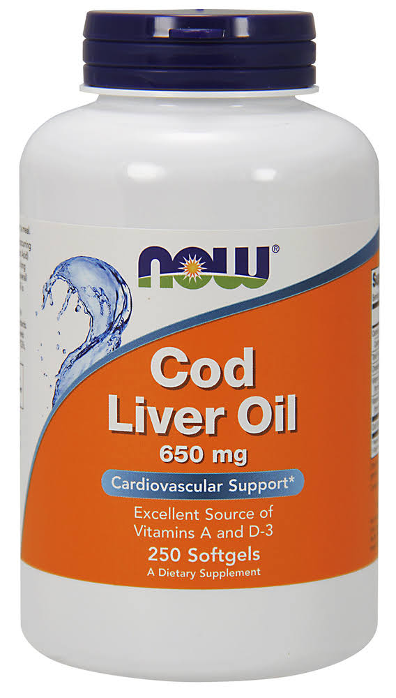 Now Foods Cod Liver Oil Supplement - 650mg, 250 Softgels
