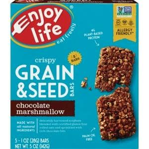 Enjoy Life Crispy Grain & Seed Bars, Chocolate Marshmallow - 5 pack, 1 oz bars