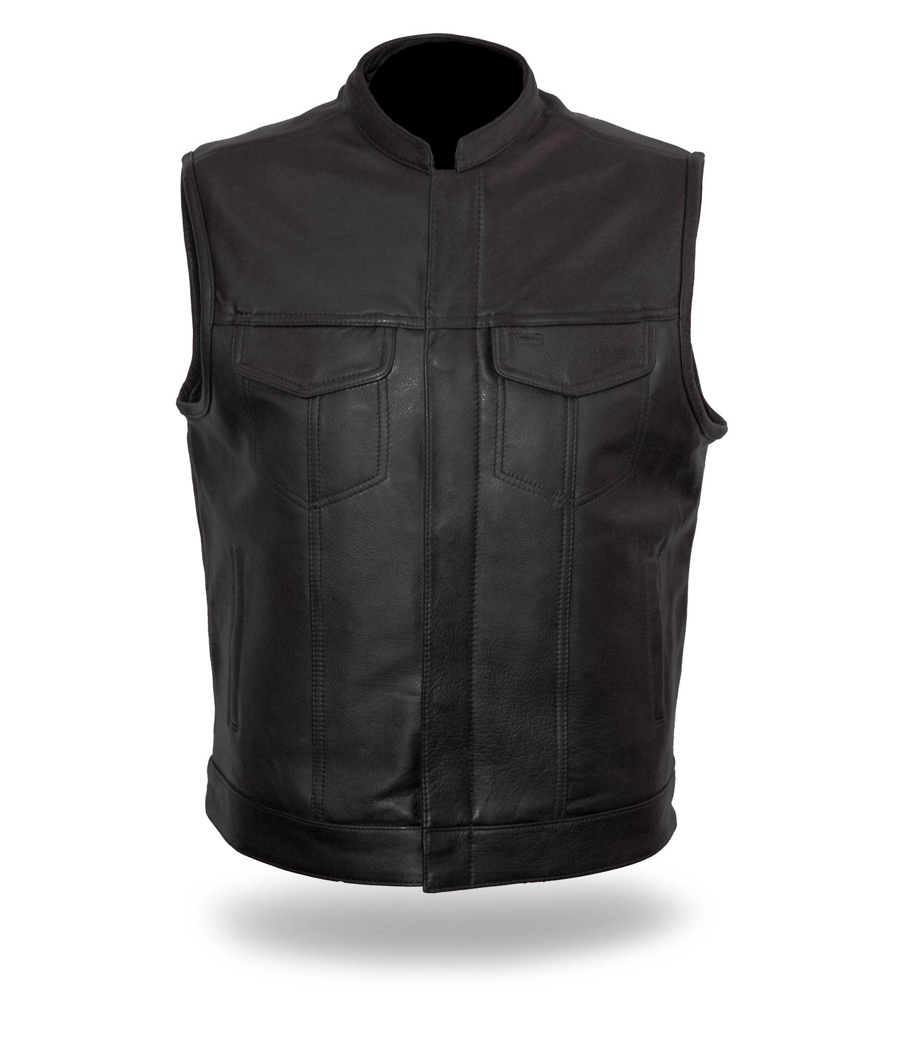 First Manufacturing Men's Sharp Shooter Motorcycle Vest - X-Large, Black