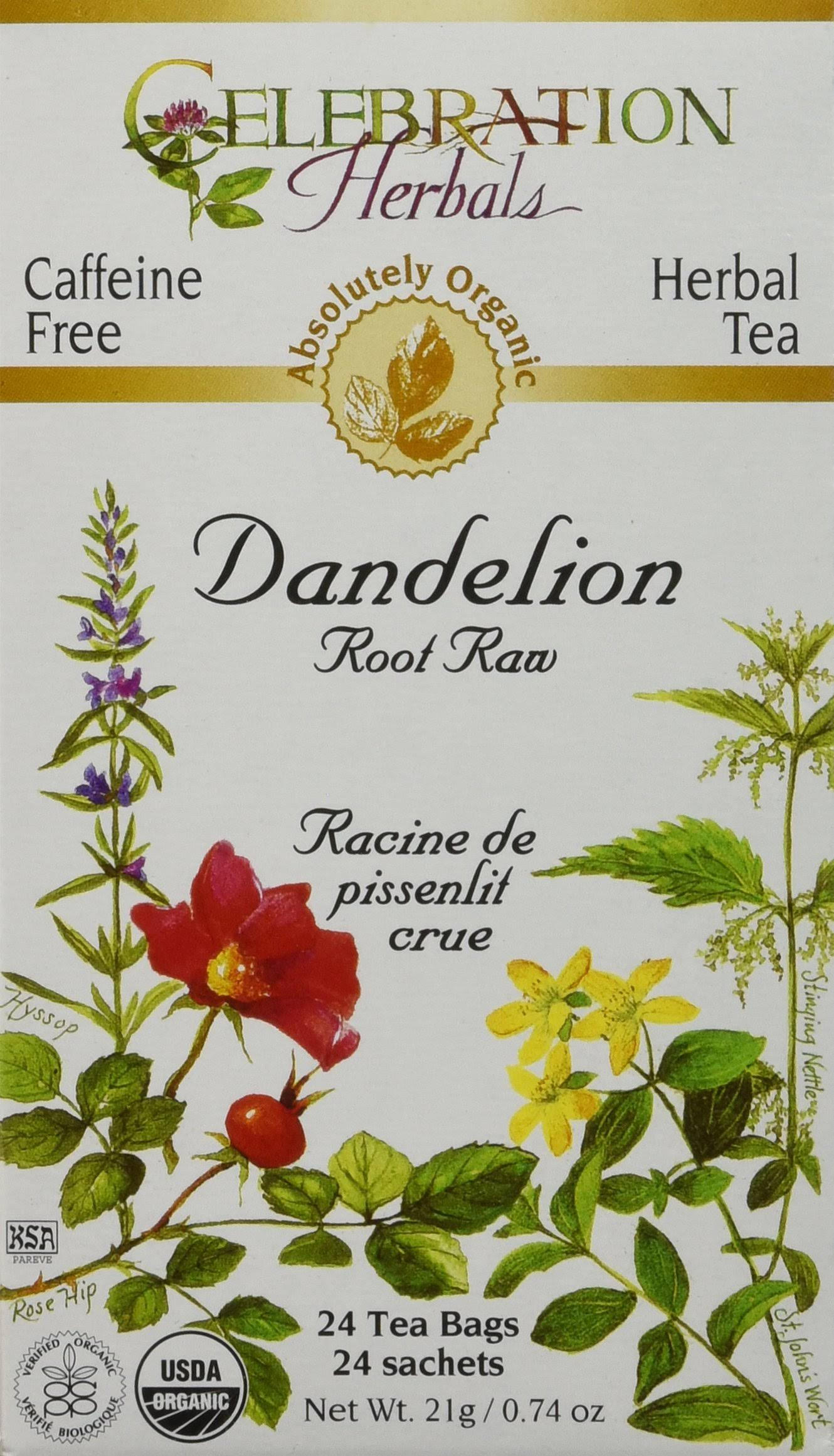 Celebration Herbals Organic Dandelion Root Raw Tea - 24 tea bags