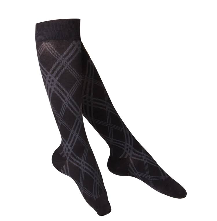 Touch Ladies' Knee High Compression Socks, Modern Argyle, 20-30 mmHg