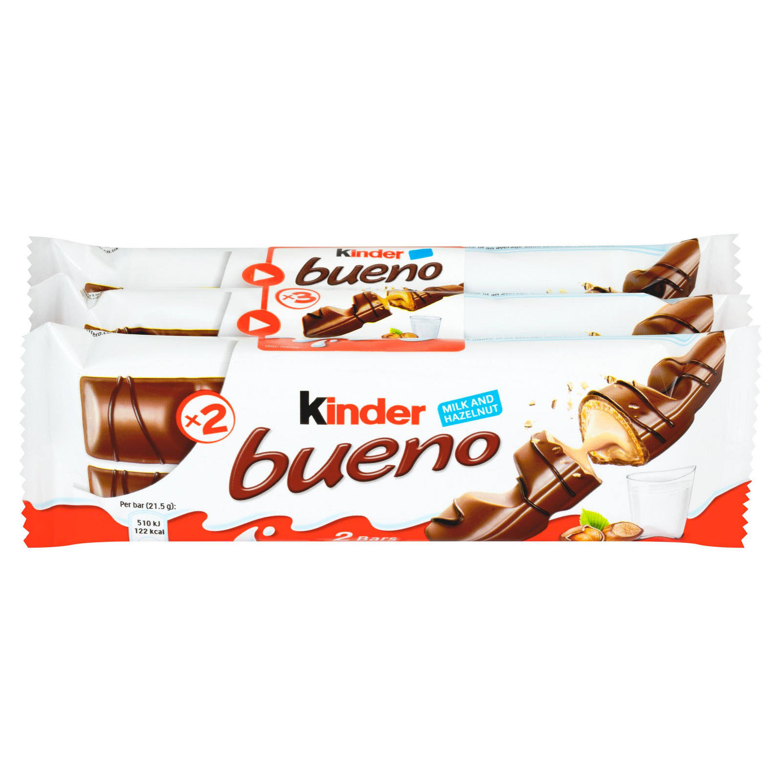 Kinder Bueno Milk Chocolate and Hazelnuts Multipack Chocolate Bars - 3 x 43g, 129g