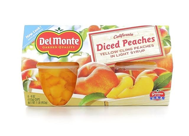 Del Monte Quality Diced Peaches - 4oz, 4pcs