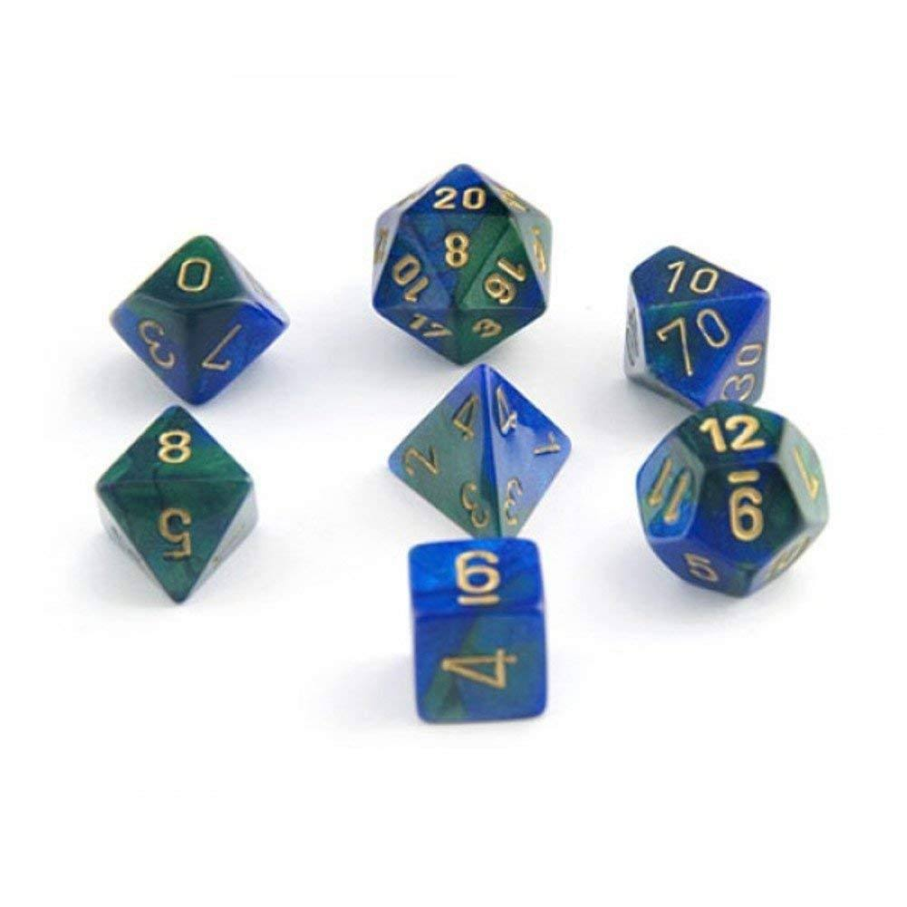 Chessex - Gemini Blue Green with Gold Polyhedral 7 Die Set