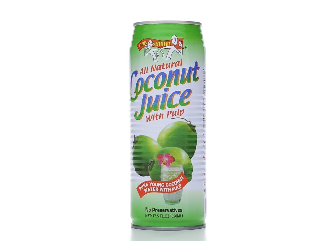 Amy & Brian Coconut Juice With Pulp - Pack Of 12, 17.5oz