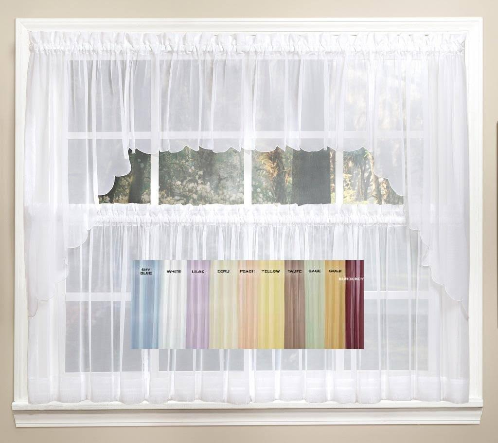 "Emelia 36"" Sheer Window Curtain Tier Pair in Yellow"