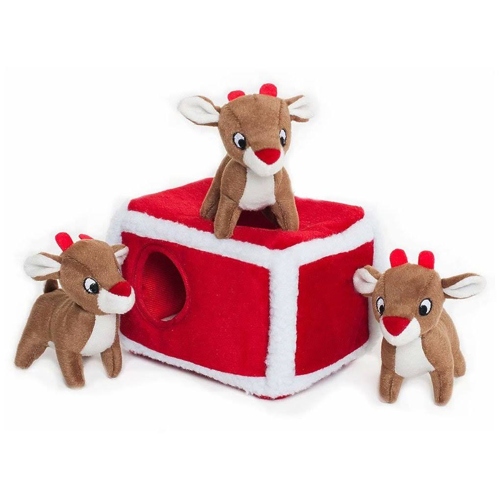 ZippyPaws Holiday Reindeer Pen Burrow Squeaky Plush Hide and Seek Dog Toy