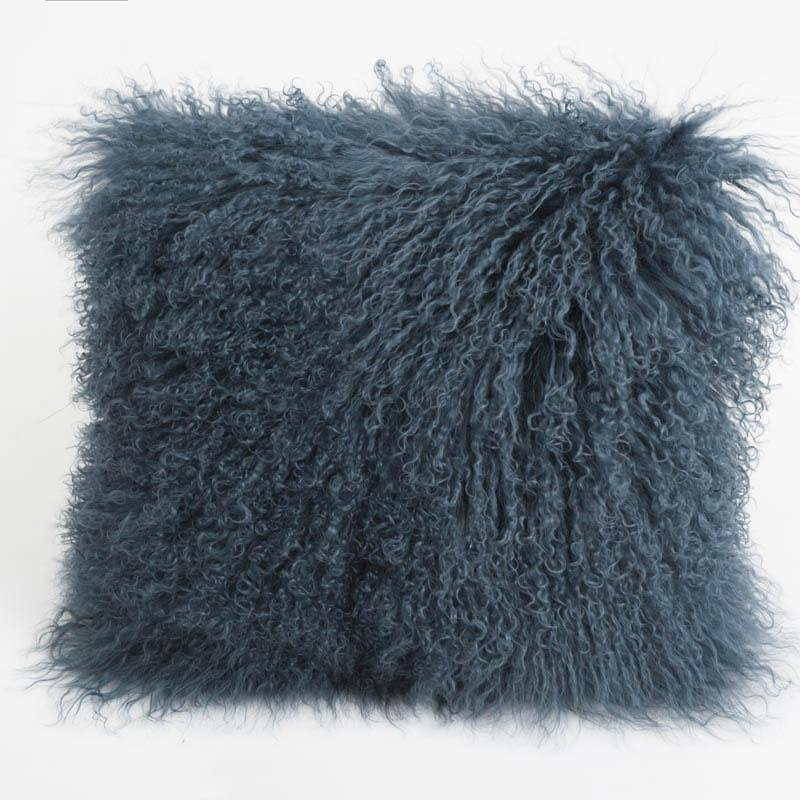 "Auskin USA Tibetan Sheepskin Cushion - Slate - 16"" Square, 16"" Square"