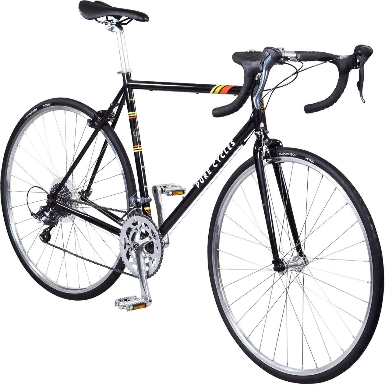 Pure Cycles Classic 16-Speed Road Bike - Veleta Black, Medium, 53cm