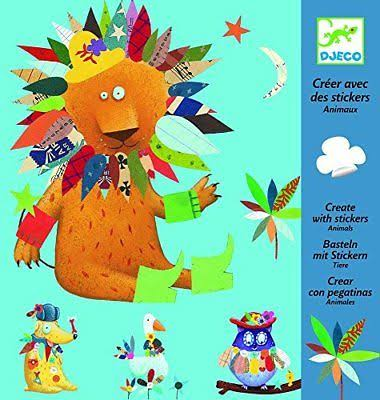 Djeco Create Animals with Stickers Arts & Crafts Kit