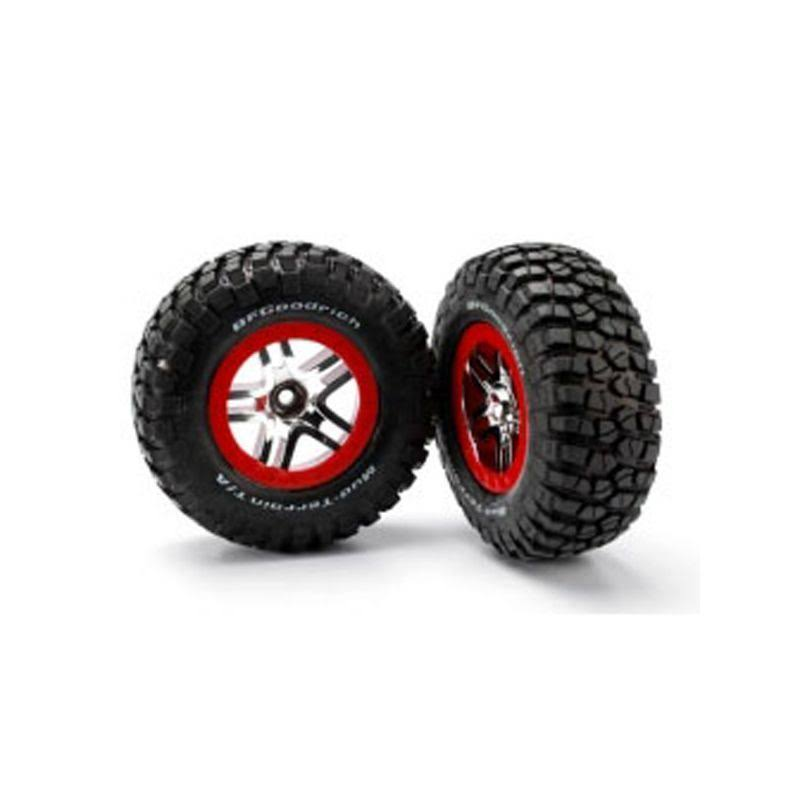Traxxas 5877R Mounted Slash F-150 Mud TA Tires and Wheels - 2pk, Red
