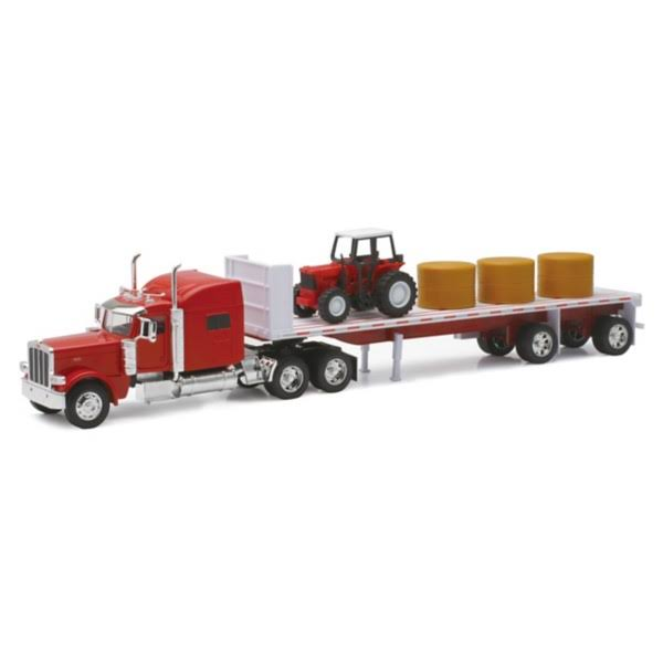 Newray Peterbilt 389 with Hay and Farm Tractor Playset - 1/32 Scale Model