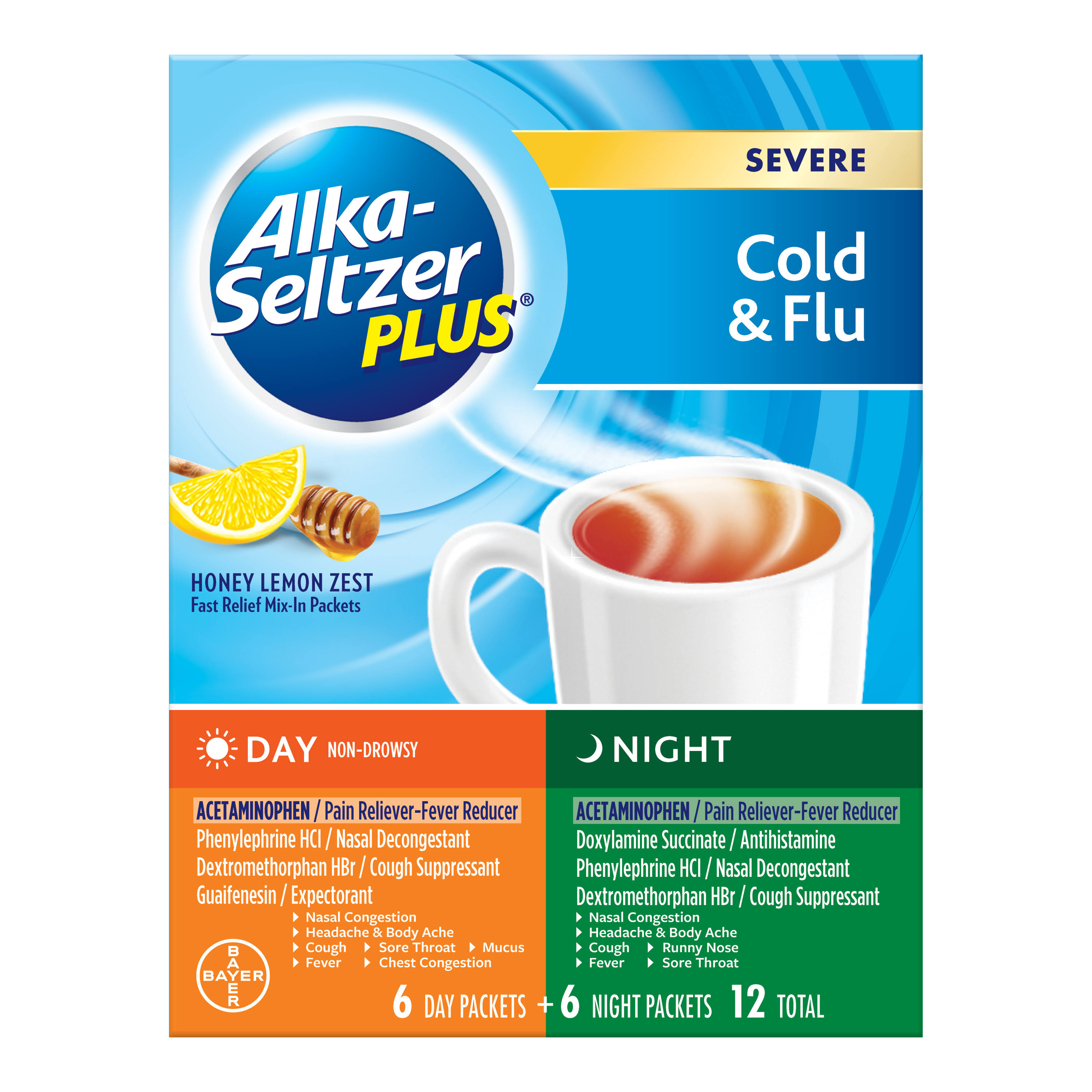 Alka Seltzer Plus Severe Cold and Flu Day Night Powder - 12ct