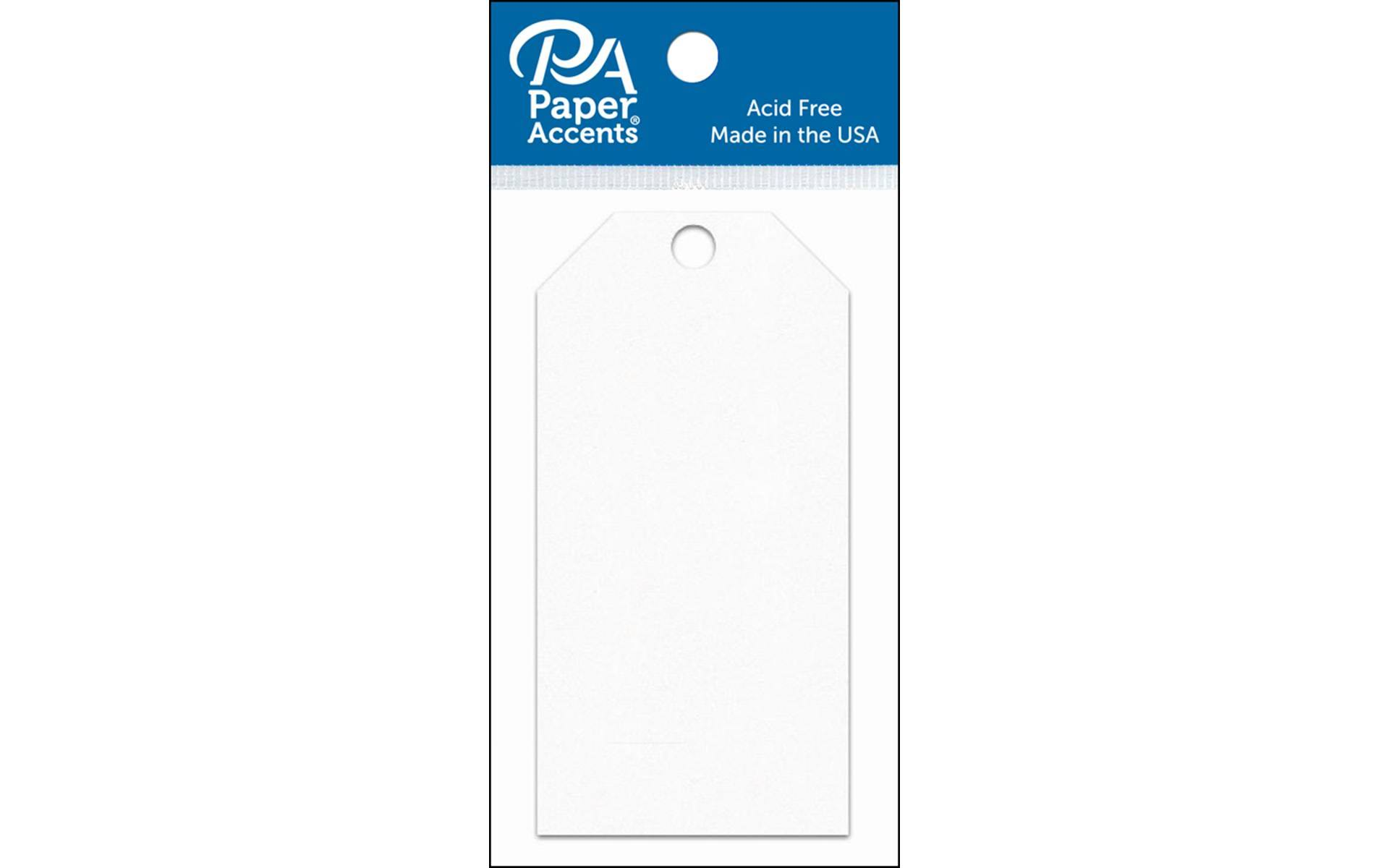 Paper Accents Craft Tags - White, 2.125in x 4.25in, 25-Pack