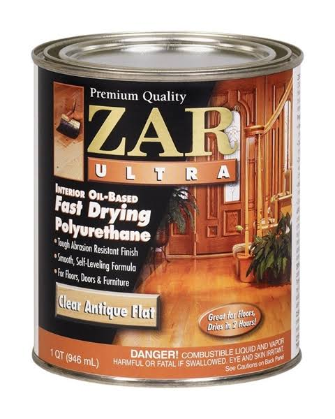 Zar Ultra Fast Drying Polyurethane - Clear Antique Flat, 1 Quart