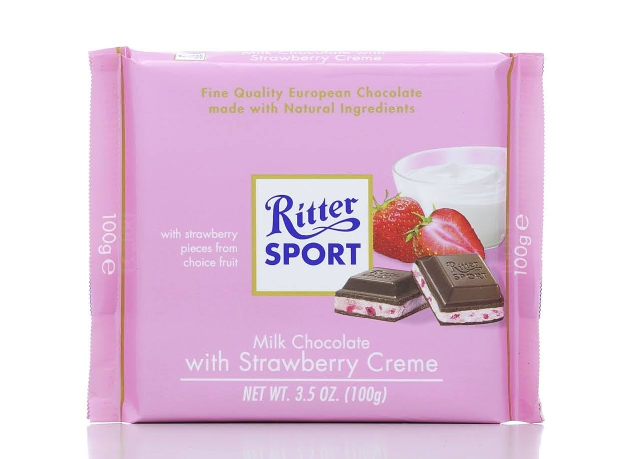 Ritter Sport Milk Chocolate With Strawberry Creme - 100g