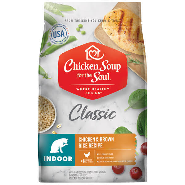Chicken Soup for The Soul Indoor Recipe with Chicken & Brown Dry Cat Food - 4.5-lb