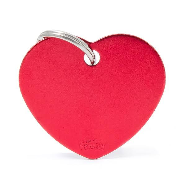 My Family Heart Big Alluminum Red ID Tag