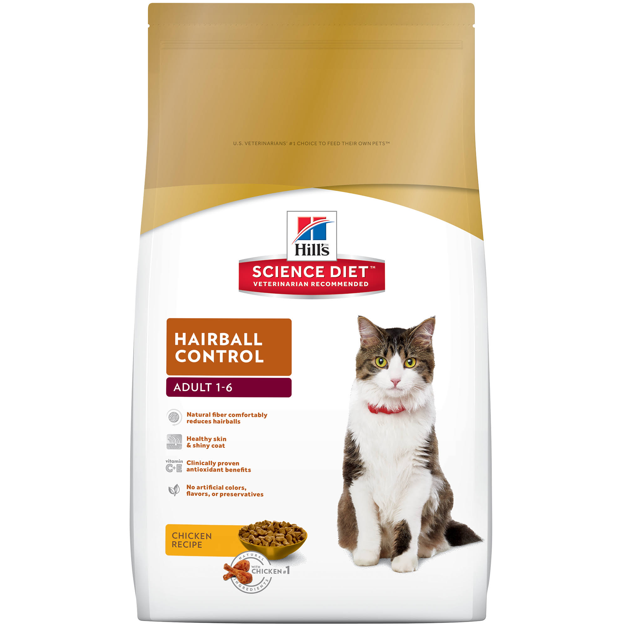 Hill's Science Diet Hairball Control Premium Natural Cat Food - Chicken Recipe, Adult 1-6, 7lbs
