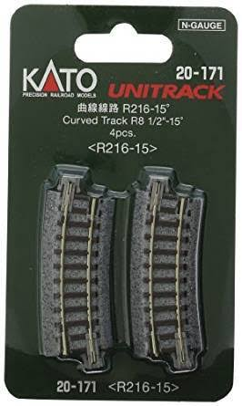 "Kato N Scale Unitrack Track Railway Train Toy - 15 Deg, 4pcs, 8 1/2"" Radius Curved"