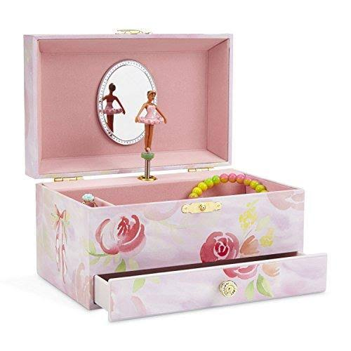 JewelKeeper Girl's Musical Jewelry Storage Box with Pullout Drawer, Ballerina and Roses