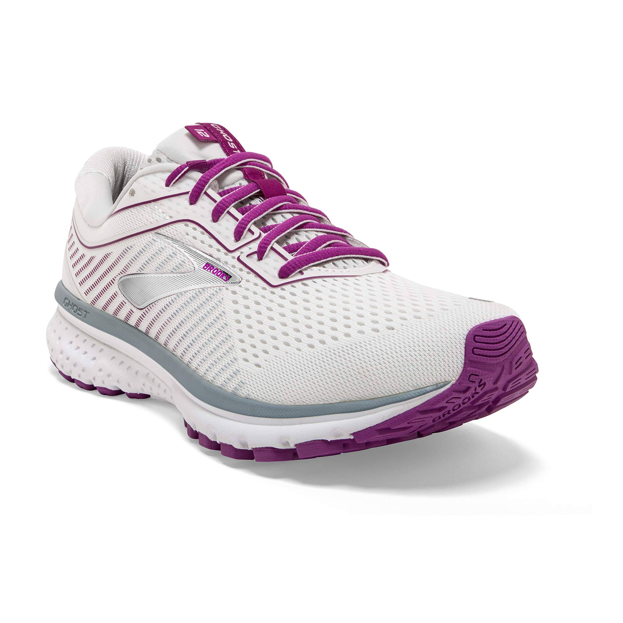 Brooks Women's Ghost 12 Running Shoe-White/Grey/Hollyhock