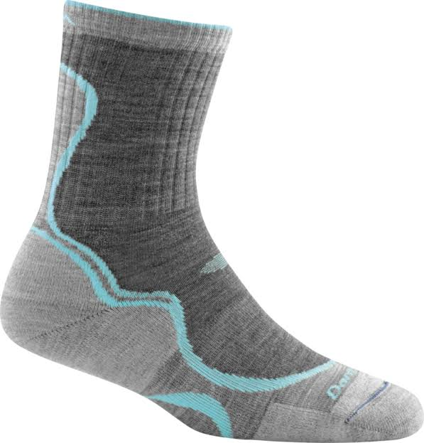 Darn Tough 1932 Womens Light Hiker Micro Crew Cushion Socks - Slate/Seafoam, Large
