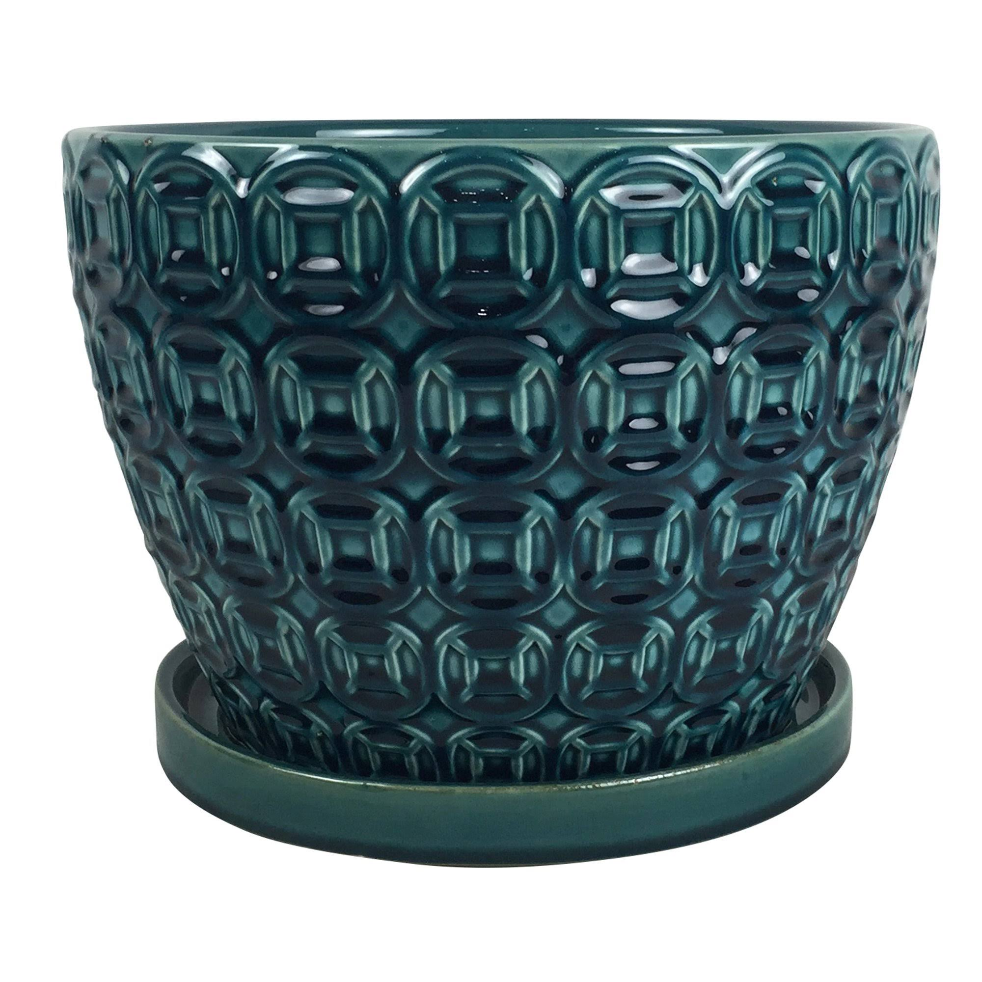Southern Patio Mayer Seafoam Ceramic Pot - Blue, 12""