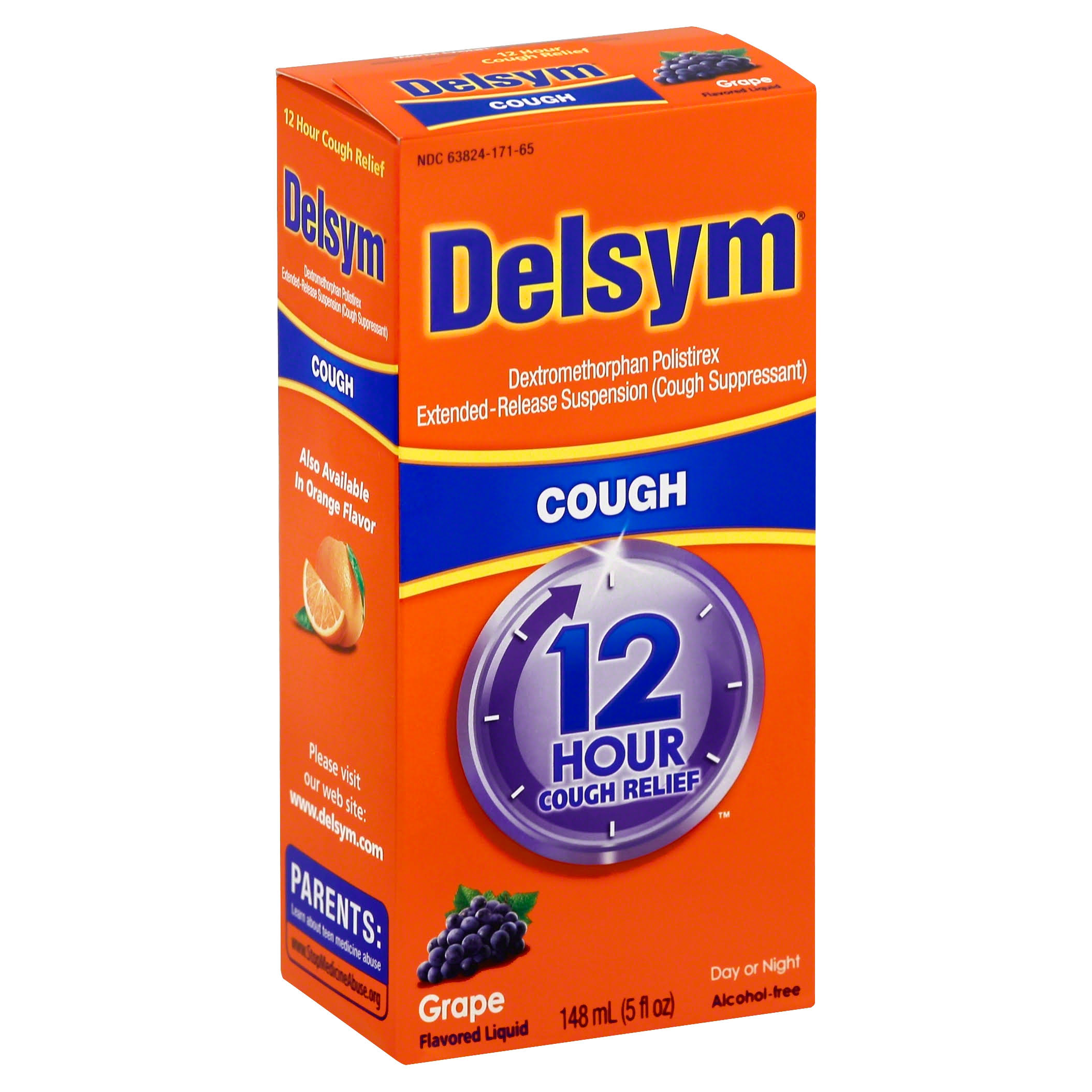 Delsym 12 Hour Day or Night Liquid Cough Relief - Grape Flavored, 5 fl oz