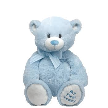 TY Classic My First Teddy Soft Plush Toy - Blue, 12""