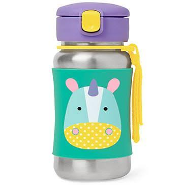 Skip Hop Zoo Stainless Steel Straw Bottle - Unicorn, 12oz