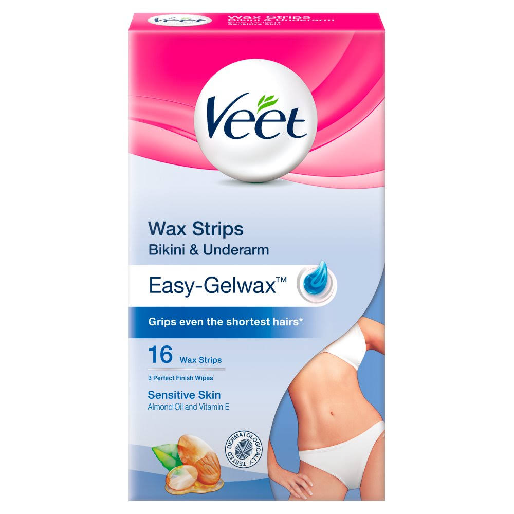 Veet Bikini & Underarm Wax Strips - for Sensitive Skin, 16pk