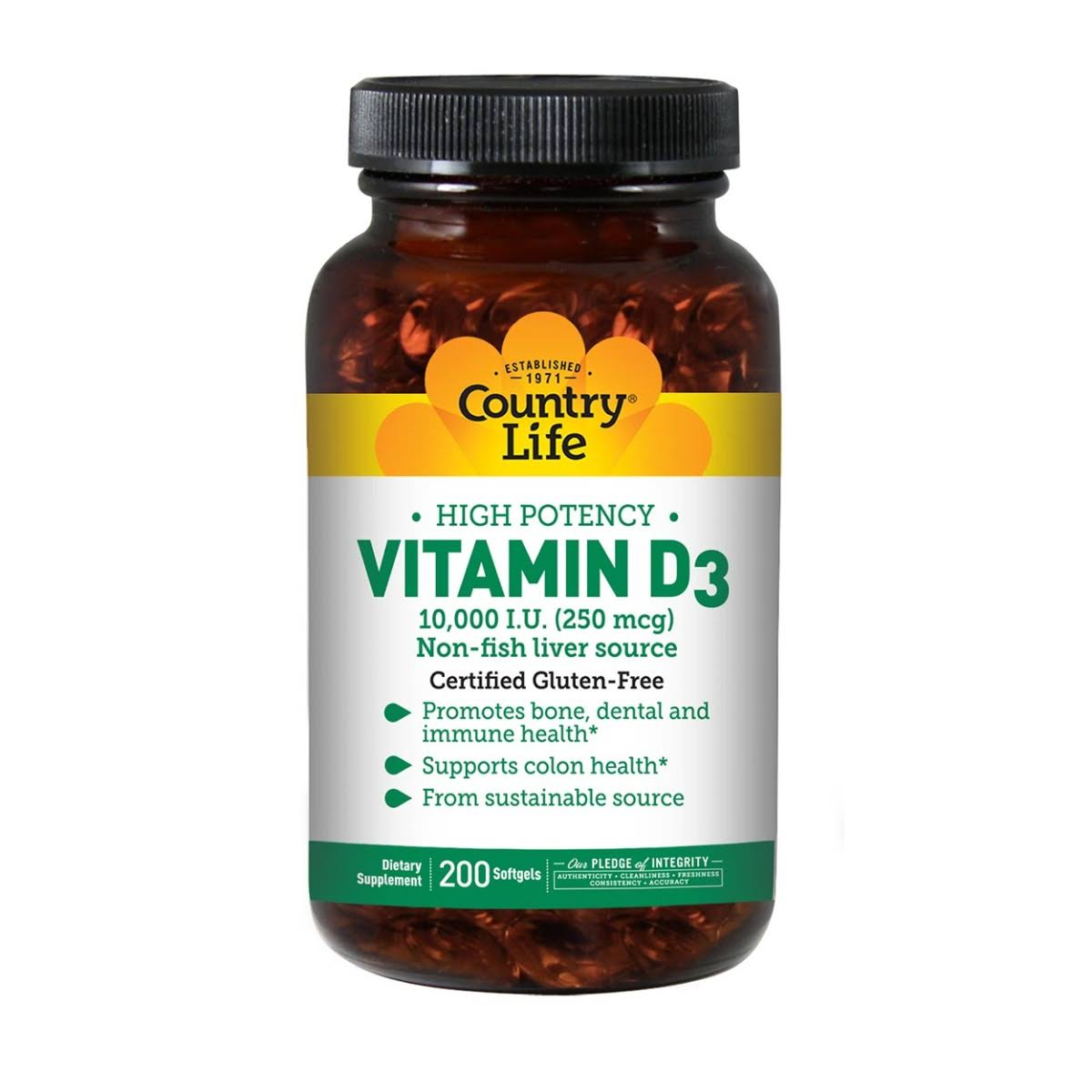 Country Life 250mcg Vitamin D3 - 200 Softgels