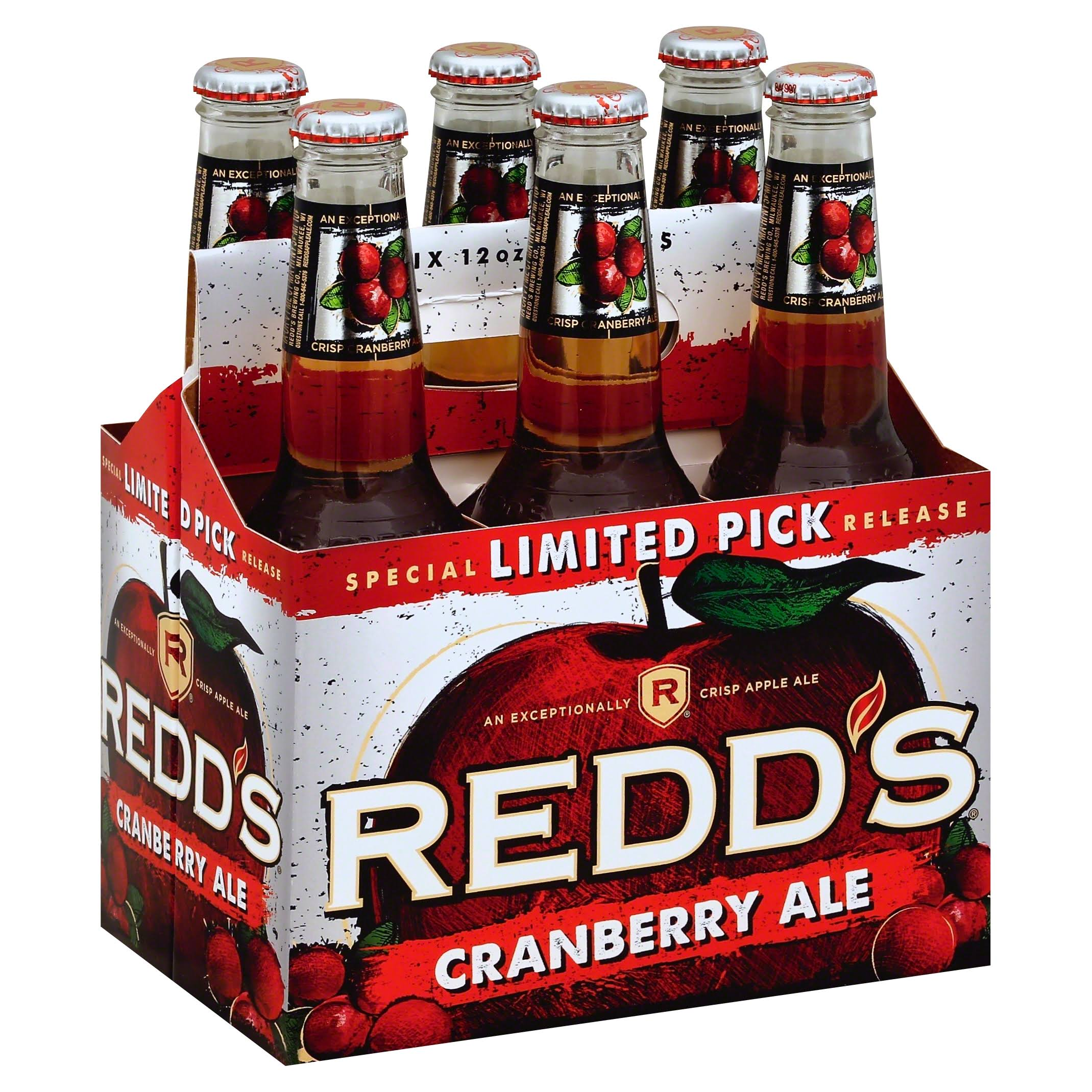 Redds Ale, Cranberry - 6 pack, 12 oz bottles