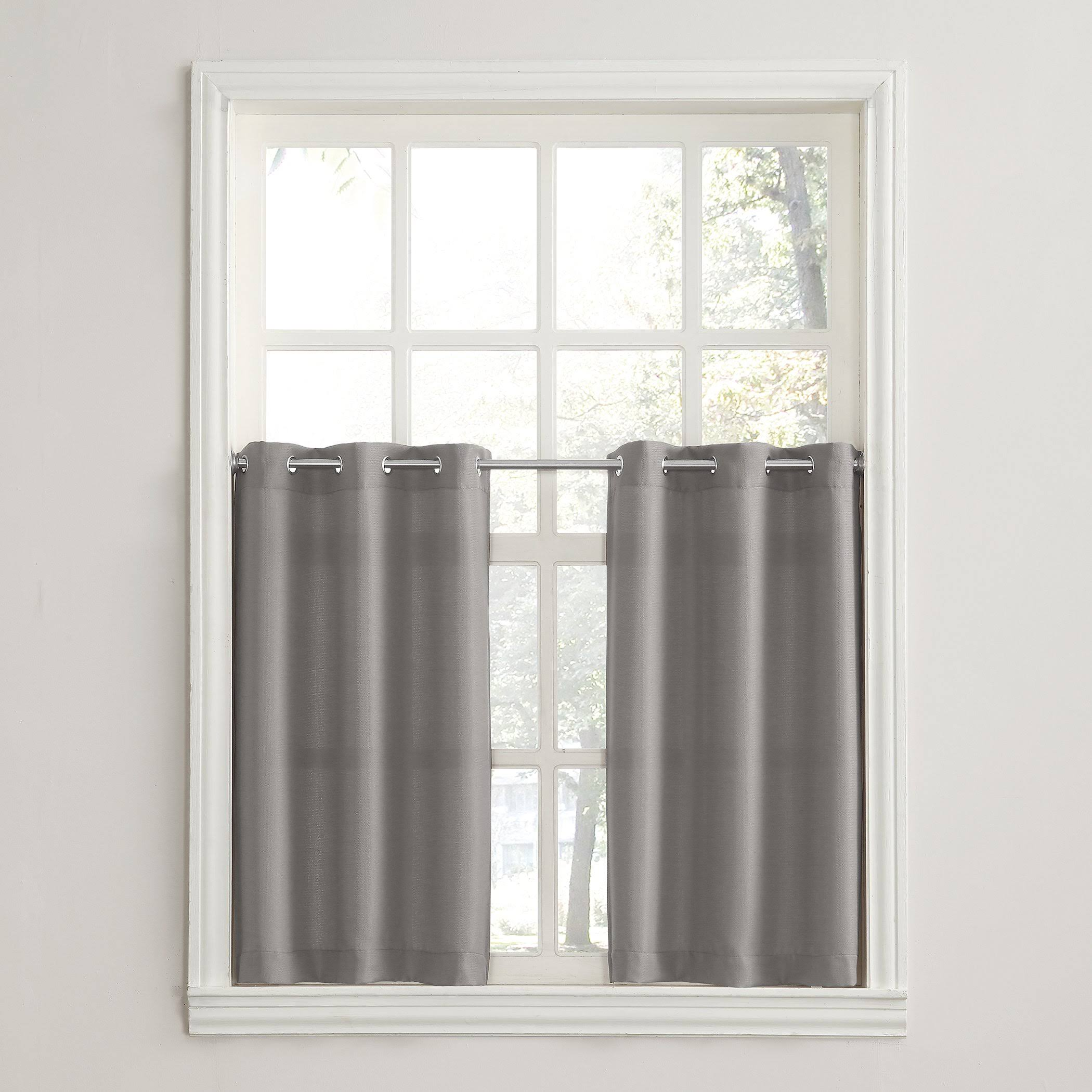 "S. Lichtenberg Montego Window Curtain Kitchen Curtains, Nickel Gray, 56"" x 36"" - 2 count"