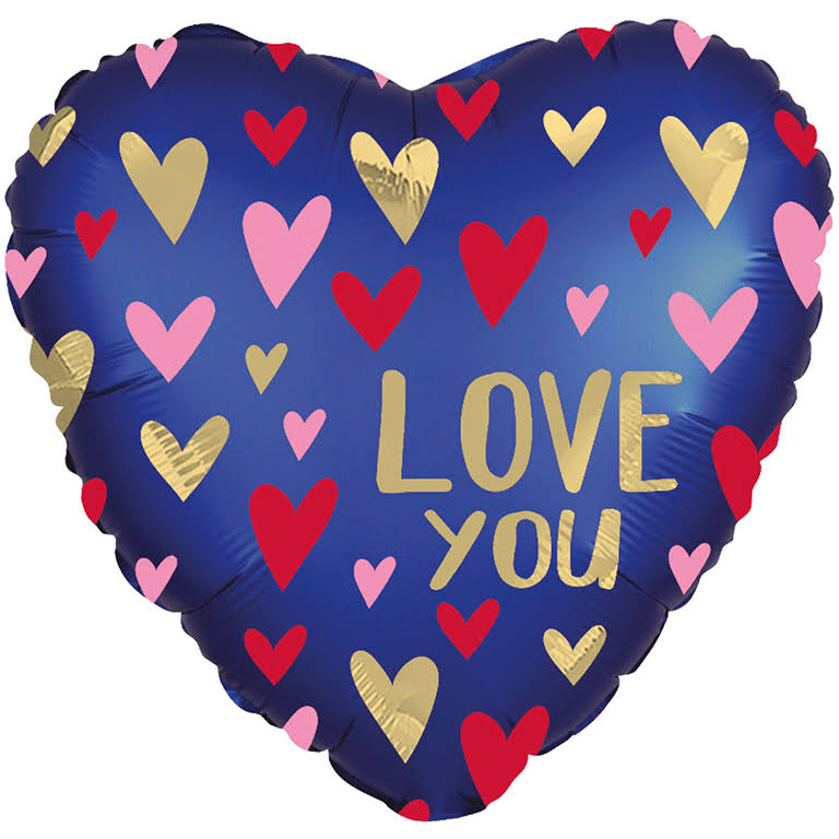 Love You Navy Satin Heart Foil Balloon