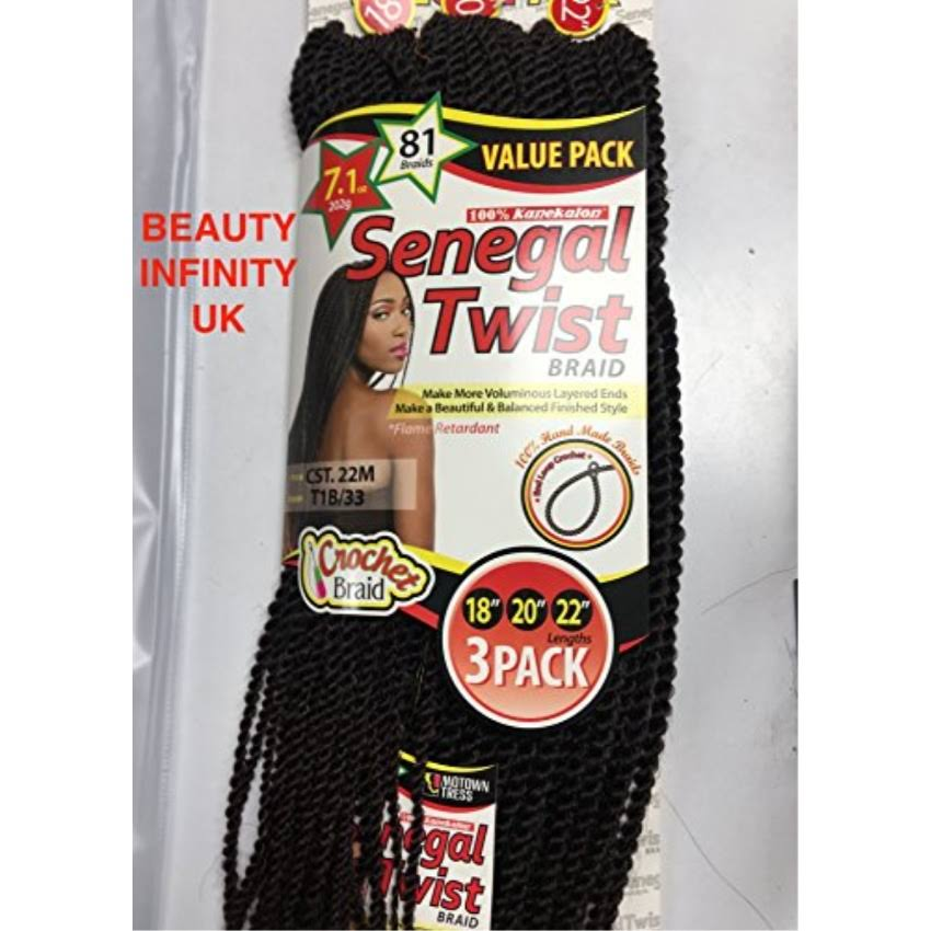 Motown Tress Syn CST 22m Senegal Twist Braid 18 20 22 1B