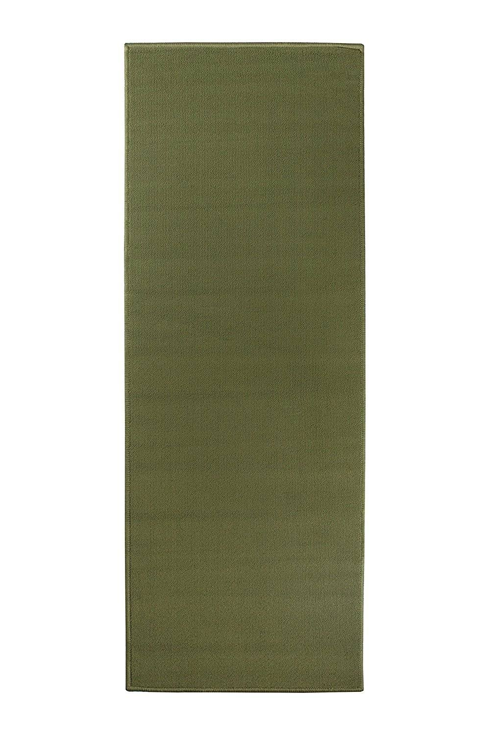 Ritz Accent Door Rug Runner with Non-Slip Latex Backing, 20-inch by 60-Inch Kitchen & Bathroom Runner Rug, Olive Green