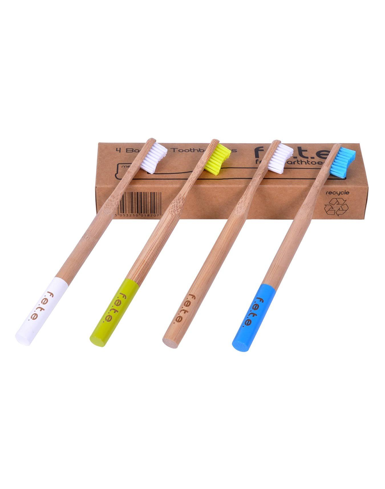 FETE Bamboo Toothbrush - Best Eco-Friendly Bamboo Handles and BPA-Free Biodegradable Nylon Bristles For Natural Dental Care