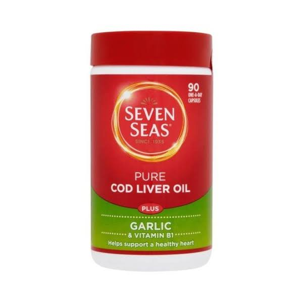 Seven Seas One A Day Pure Cod Liver Oil Supplement - Plus Garlic, 90 Capsules
