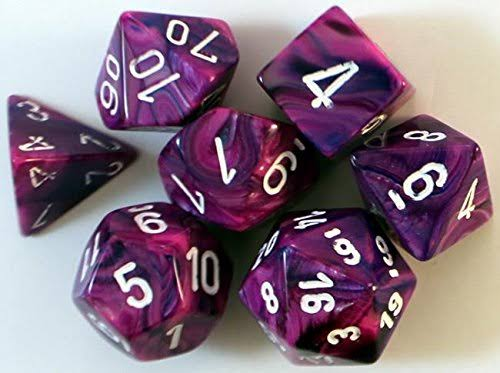 Chessex Polyhedral 7 Dice Set Festive Violet White
