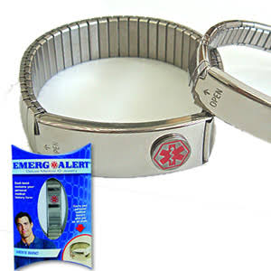 Emerg Alert Men's Deluxe Silver Tone Flexible Band Medical ID Bracelet