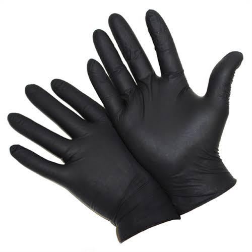 West Chester Disposable Gloves - Medium, Black Nitrile, Powder Free