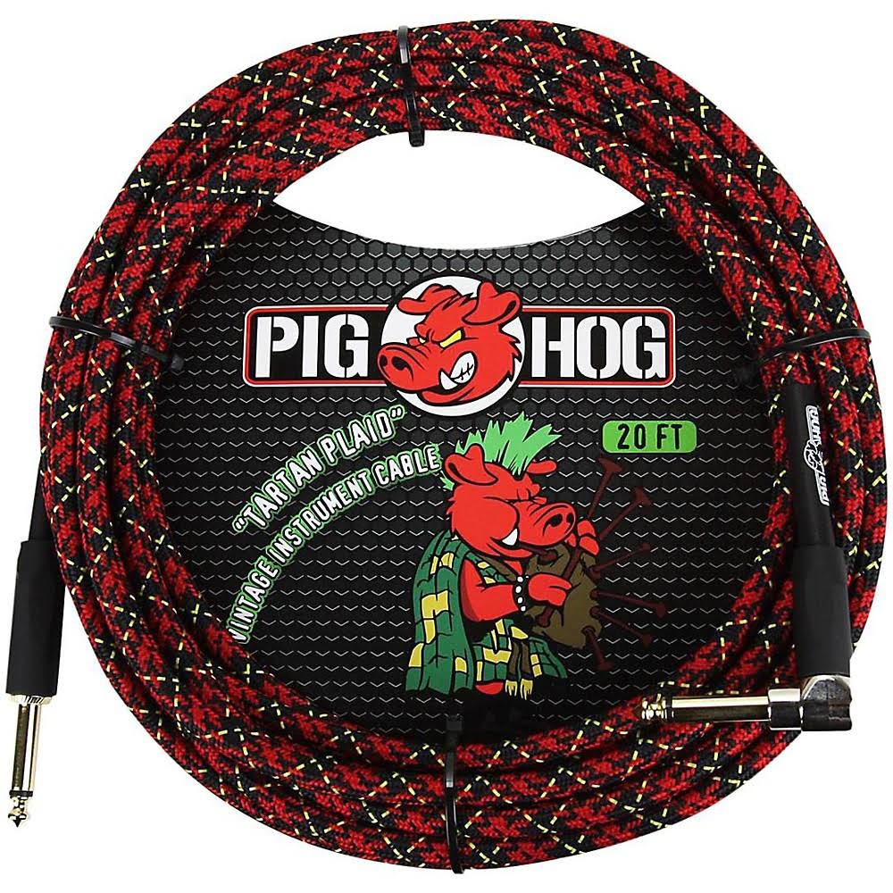 Pig Hog Right Angle Instrument Cable - 20', Tartan Plaid