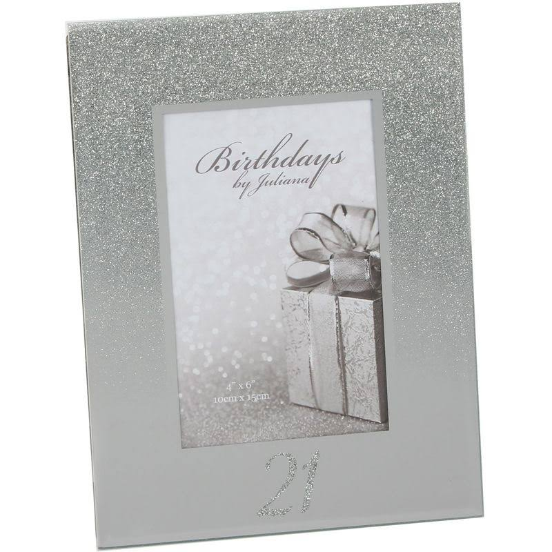 "21st Birthday Silver Glitter Mirror Glass Photo Frame - 4"" x 6"""
